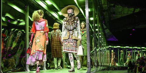 Green, Fashion, Fashion design, Performance, Event, Fun, Adaptation, Stage, Fashion show,