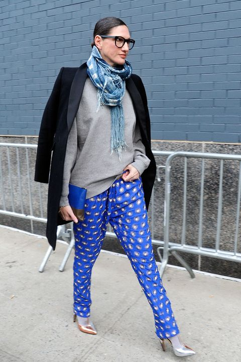 Blue, Sleeve, Textile, Outerwear, Style, Street fashion, Electric blue, Sunglasses, Pattern, Scarf,