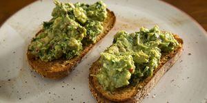 avocado toast with guacamole on whole grain bread