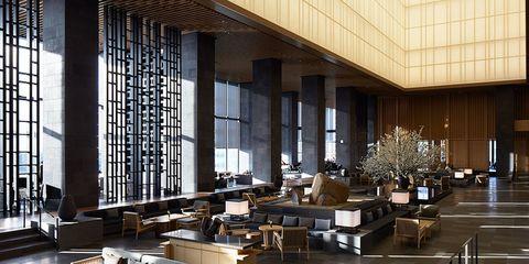 Building, Interior design, Lobby, Architecture, Room, Furniture, Wall, Design, Table, Restaurant,