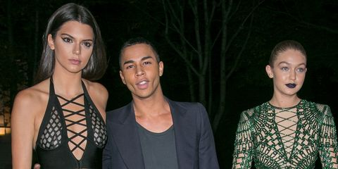 Olivier Rousteing, Kendall Jenner and Gigi Hadid