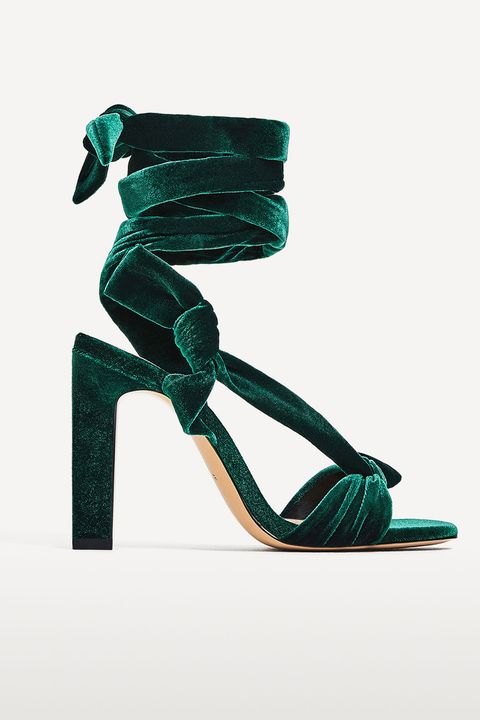 Zara green velvet shoes