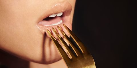 Face, Nose, Facial expression, Tooth, Skin, Fork, Lip, Mouth, Chin, Cutlery,