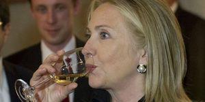 Hillary Clinton drinking wine