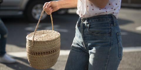 A straw bag seen at fashion week