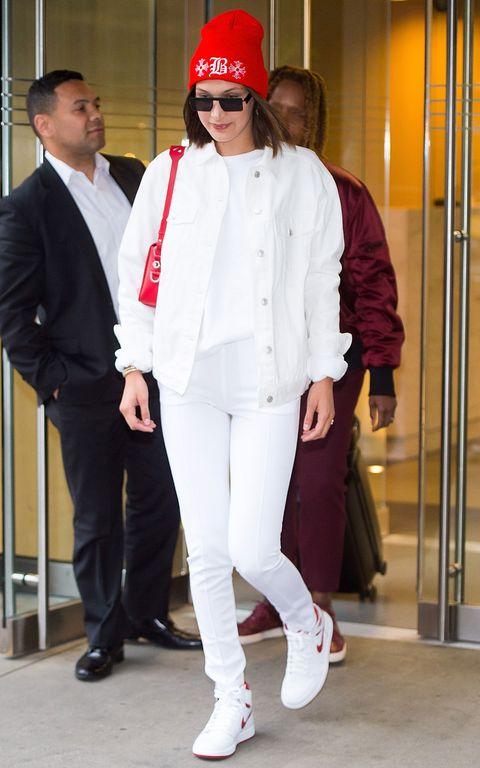 White, Clothing, Red, Fashion, Footwear, Outerwear, Street fashion, Sportswear, Headgear, Shoe,