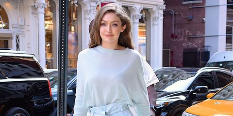Gigi Hadid wearing blue Sally LaPointe