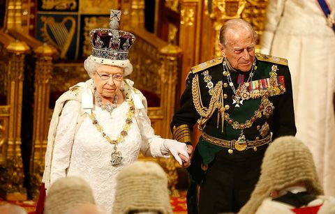 Queen Elizabeth and the Duke of Edinburgh at the 2016 Queen's Speech