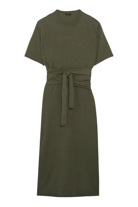 Clothing, Dress, Green, Day dress, Sleeve, Khaki, Robe, Cocktail dress,