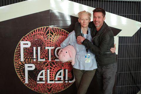 Tilda Swinton and Brad Pitt at Glastonbury