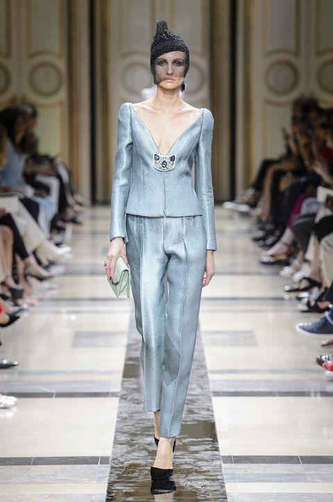 Fashion model, Fashion, Runway, Fashion show, Clothing, Haute couture, Dress, Outerwear, Event, Pantsuit,