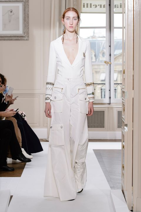 Fashion, Fashion model, White, Clothing, Haute couture, Fashion show, Runway, Fashion design, Dress, Event,