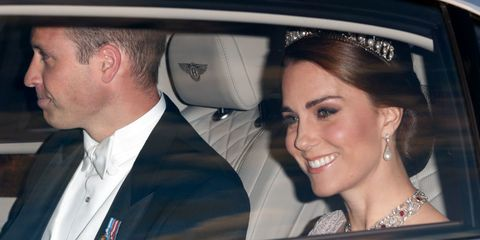 The Duke and Duchess of Cambridge arriving at the State Banquet