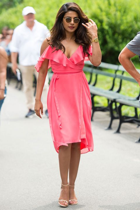 Clothing, Pink, Dress, Red, Shoulder, Fashion, Yellow, Footwear, Summer, Street fashion,