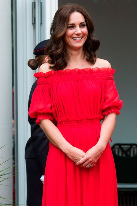 77879d2c03 The Duchess of Cambridge wears red Alexander McQueen for a garden ...