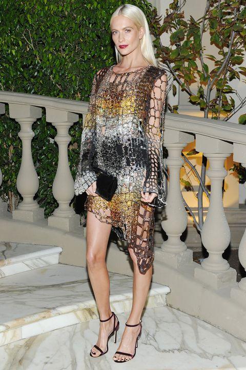 Fashion model, Fashion, Clothing, Haute couture, Fashion show, Shoulder, Dress, Footwear, Leg, Cocktail dress,
