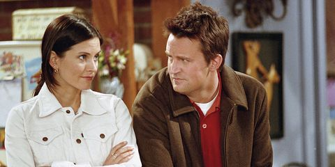 Courteney Cox as Monica Geller and Matthew Perry as Chandler Bing in Friends