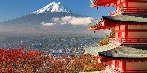 Japanese architecture, Sky, Tree, Pagoda, Leaf, Architecture, Chinese architecture, Mountain, Autumn, Place of worship,