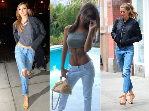 Gigi Hadid, Emily Ratajkowski e Gisele Bundchen usando jeans de baixa altura