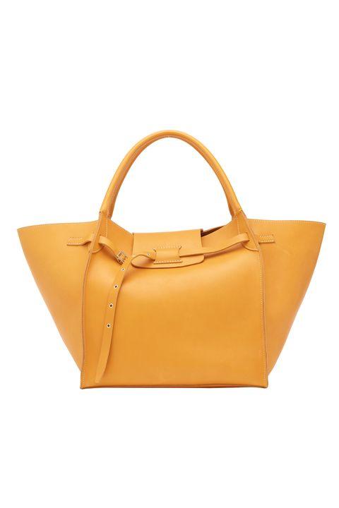 Handbag, Bag, Yellow, Orange, Fashion accessory, Leather, Shoulder bag, Tan, Tote bag, Beige,