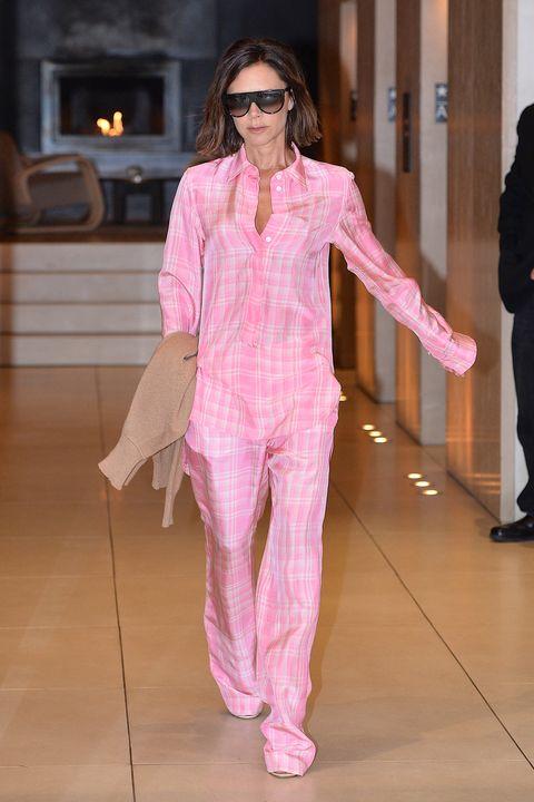 Fashion model, Clothing, Fashion, Pink, Fashion show, Runway, Eyewear, Pantsuit, Haute couture, Suit,