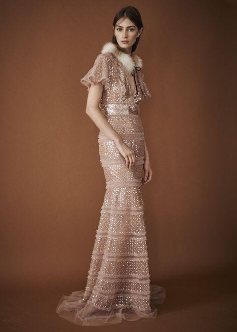 Fashion model, Gown, Clothing, Dress, Shoulder, Formal wear, Wedding dress, Fashion, Bridal party dress, Beauty,