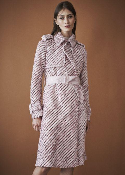 Clothing, Fashion model, White, Coat, Fashion, Outerwear, Dress, Trench coat, Overcoat, Sleeve,