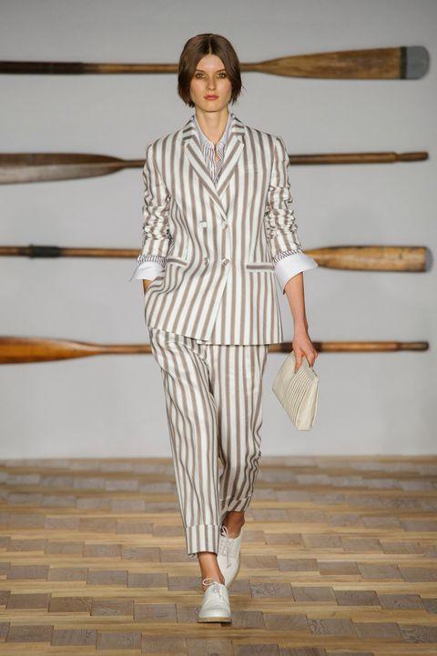 Clothing, Fashion, White, Runway, Fashion show, Shoulder, Fashion model, Waist, Haute couture, Pantsuit,