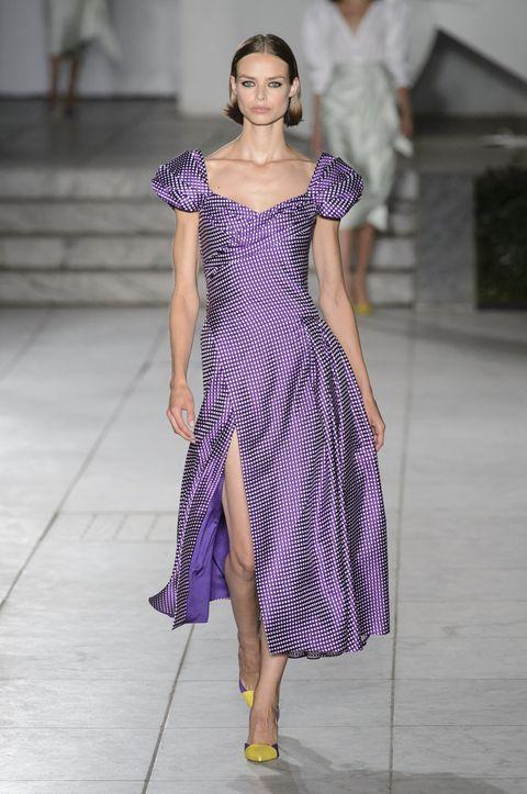 Fashion model, Fashion, Fashion show, Clothing, Runway, Purple, Violet, Dress, Fashion design, Haute couture,