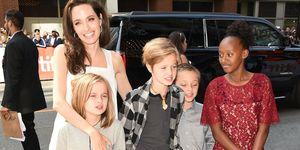 Angelina Jolie and children at The Breadwinner premiere