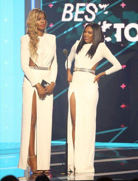 Laverne Cox and Gabrielle Union at the 2015 BET Awards in the same outfits