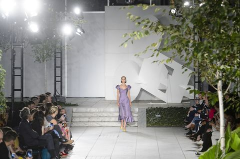 Runway, Fashion, Fashion show, Fashion design, Event, Public event, Spring, Dress, Stage, Architecture,