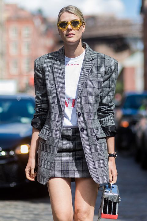 Checked blazer trend at New York Fashion Week