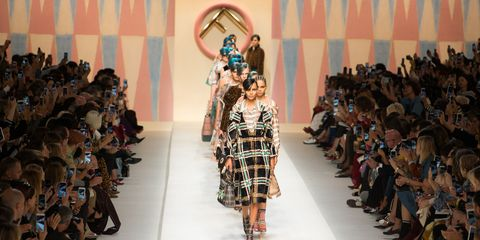 Fashion model, Runway, Fashion, Fashion show, Fashion design, Event, Haute couture, Dress, Long hair, Collection,