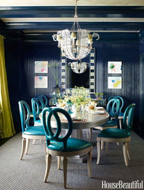 Blue, Green, Room, Interior design, Furniture, Ceiling fixture, Chandelier, Light fixture, Table, Ceiling,