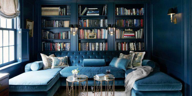 blue velvet tufted sofa