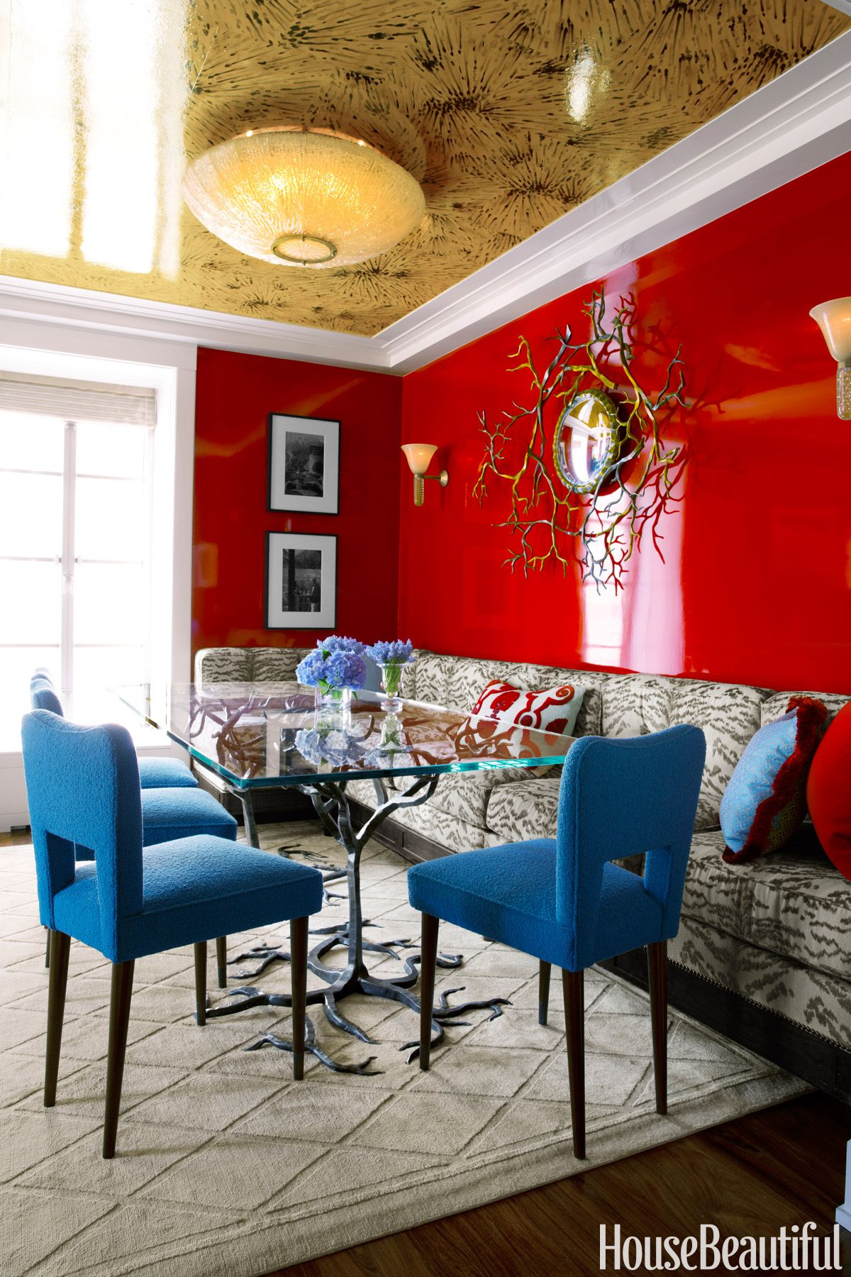red dining room color ideas.  Colorful Small Apartment Space Color Ideas