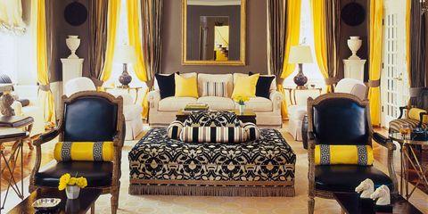 Room, Interior design, Yellow, Floor, Textile, Flooring, Furniture, Interior design, Ceiling, Lamp,