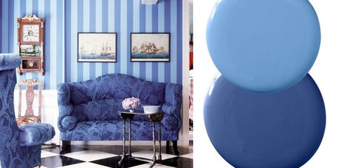 Blue, Interior design, Floor, Room, Couch, Living room, Azure, Majorelle blue, Cobalt blue, Interior design,