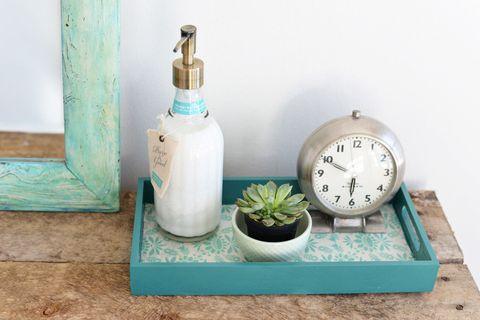 Flowerpot, Turquoise, Teal, Aqua, Interior design, Azure, Houseplant, Home accessories, Alarm clock, Measuring instrument,