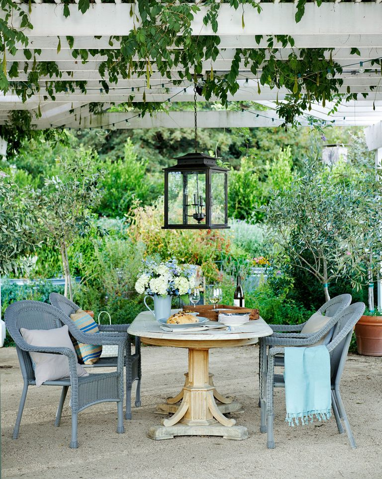 Wicker chairs from Target pull up to an antique pine table under a wisteria-covered pergola at a farmhouse in California. #outdoordining #pergola #outdoorliving #lantern
