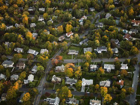 Residential area, Neighbourhood, Property, Urban area, Landscape, Suburb, House, Aerial photography, Urban design, Bird's-eye view,