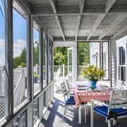Property, Interior design, Table, Real estate, Glass, Porch, Fixture, Ceiling, Home, Chair,