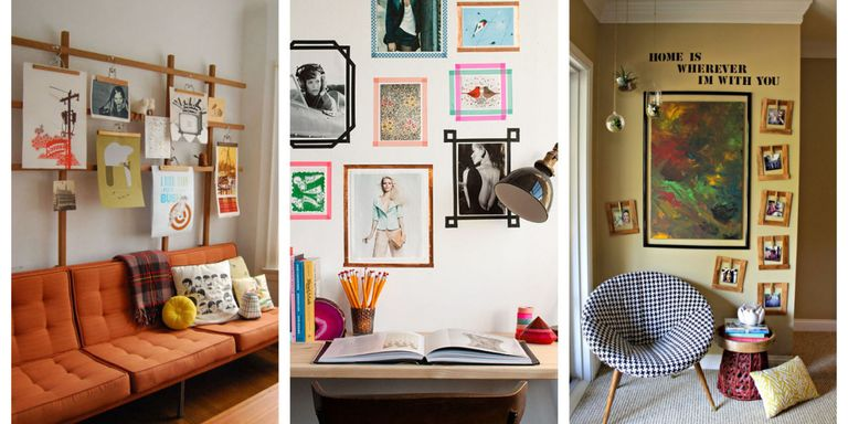 Alternative framing ideas how to hang pictures without a - Picture wall ideas for living room ...