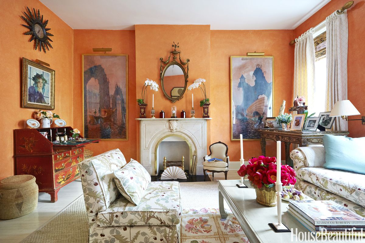 14 best shades of orange top orange paint colors rh housebeautiful com light orange living room walls yellow orange living room walls