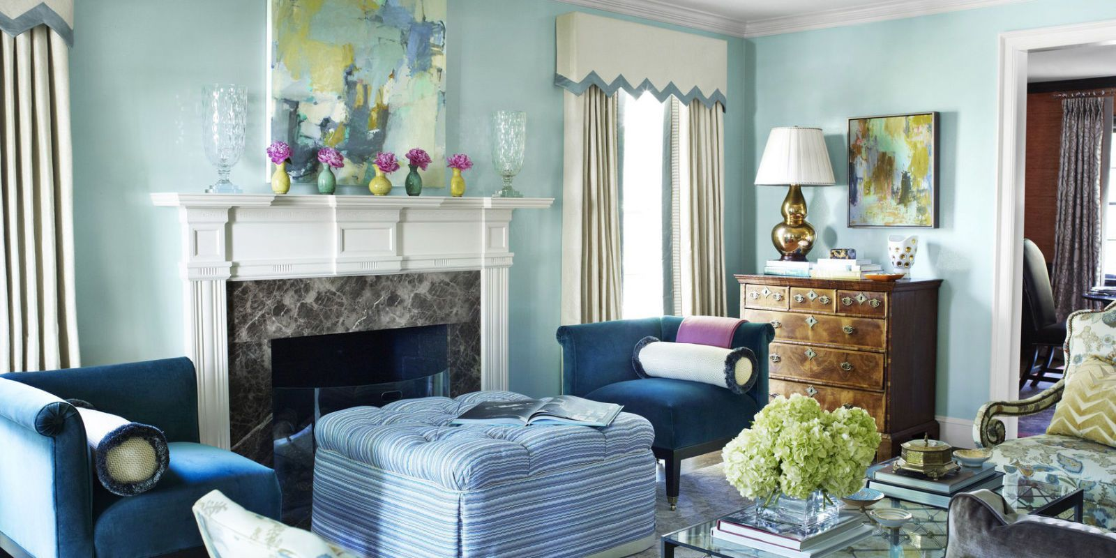 The celestial airiness of walls lacquered in Benjamin Moore\u0027s Antiguan Sky is grounded by a pair : paint-ideas-for-living-room - designwebi.com
