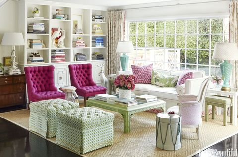 living room, furniture, room, interior design, property, coffee table, couch, pink, purple, table,