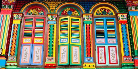 Yellow, Colorfulness, Facade, Amber, Orange, Art, Fixture, Majorelle blue, Pattern, Visual arts,