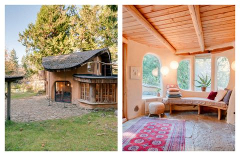 """This tiny cottage sits 10 minutes from the beach on Mayne Island, an eight-square-mile isle located near Vancouver. The <a target=""""_blank"""" href=""""https://www.airbnb.com/rooms/1720832"""">cozy retreat</a> is hand-sculpted from sustainable local materials, and visitors that tire of the ocean can spend their days in the surrounding orchards and gardens.<a target=""""_blank"""" href=""""https://www.airbnb.com/rooms/1720832"""">See more on Airbnb »</a>"""