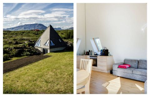 """Iceland's take on the cottage combines modern, Scandinavian design with traditional touches — built in the midst of an old lava field's moss and trees. Come for the hot tub and stay to watch the Northern Lights in the skies above. <a target=""""_blank"""" href=""""https://www.airbnb.com/rooms/1186427"""">See more on Airbnb</a> »"""